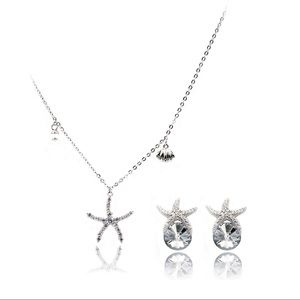 Silver star crystal necklace earrings set